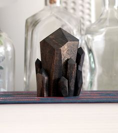 Handmade Faceted Wood Quartz Crystal Point Sculpture in Walnut on Etsy, $46.00