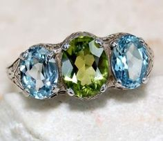 2ct Aquamarine Peridot 925 Sterling Silver Victorian Style Filigree Ring sz 6.    Do want. But I might have to wear it on a necklace :P