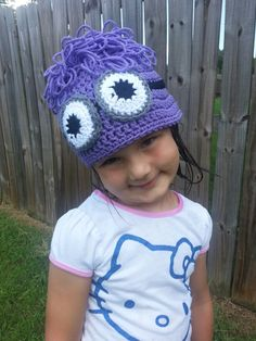 Purple Minion hat. Custom orders welcome! www.facebook.com/jenniesawyersdesigns