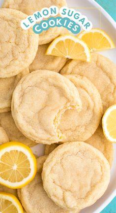 Lemon Sugar Cookies, Sugar Cookies Recipe, Yummy Cookies, Cookies Soft, Healthy Cookies, Lemon Shortbread Cookies, Cinnamon Roll Cookies, Healthy Cookie Recipes, Lemon Cupcakes