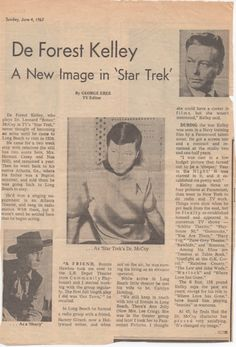A newspaper article from June 4, 1967 about DeForest Kelley as Dr. McCoy on Star Trek.