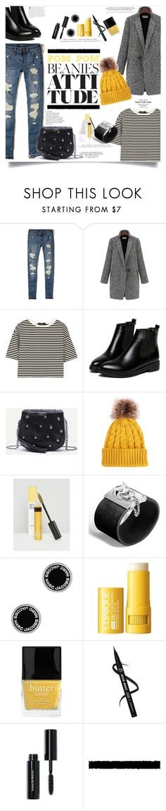 """Yellow Pom Pom Beanie"" by elimarga ❤ liked on Polyvore featuring Hollister Co., TIBI, WithChic, 3ina, John Hardy, Marc Jacobs, Clinique, Butter London, H&M and Bobbi Brown Cosmetics"