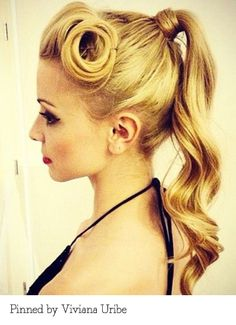Retro high-pony - pinned by Viviana Uribe. Recreate it here: http://myhairdressers.com/hairdressing-training/session/high-ponytail-technique.html