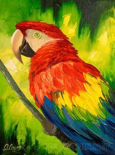 Кеша Картина маслом на холсте,попугай,картина в подарок,для интерьера,птицы