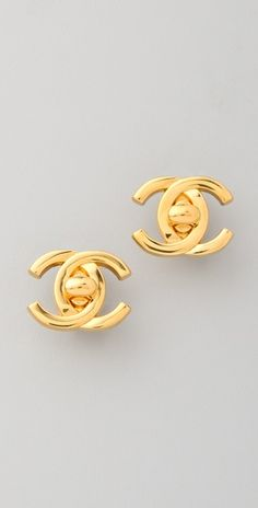 Authentic vintage Chanel gold-plated clip-on earrings