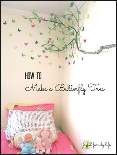 How to make a butterfly tree that attaches to the wall. Perfect for a little girl's butterfly decorated room!