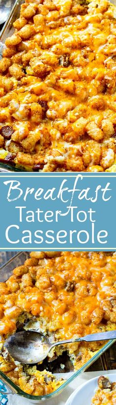 Breakfast Tater Tot Casserole with sausage, eggs, and cheese.