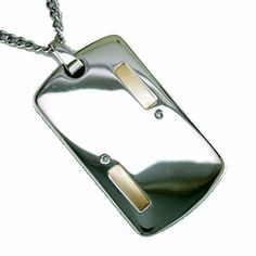 14K Gold and Stainless Steel Men's Diamond Dog Tag Necklace by JewelryCastle, http://www.amazon.ca/dp/B006234B72/ref=cm_sw_r_pi_dp_Y50btb17VR28Y