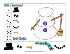 Roll a Snowman Free to Print!- pinned by @PediaStaff – Please Visit ht.ly/63sNtfor all our pediatric therapy pins