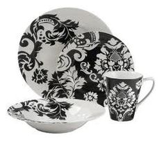 Black \u0026 White Damask dinnerware from Target. So far this is the only thing I\u0027ve seen on Pinterest that I actually OWN!  sc 1 st  Pinterest & I love these... but how many sets of dishes are needed in one house ...