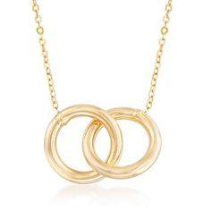"Ross-Simons - Italian 14kt Yellow Gold Interlocking Open Circles Necklace. 18"" - #862863"