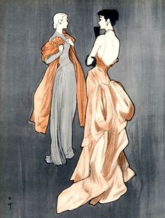 Evening gowns by Jeanne Lafaurie (l) and Maggy Rouff (r) illustrated by Rene Gruau, 1948