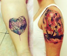 Blog AGAP #water #color #tattoo #tatuagem #aquarela #pintura #arte #beleza #cores #heart #coração #menina #passaros #bird