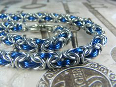 Silver and Blue Byzantine BDSM Slave Collar by aislinnscollared