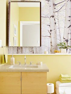 More Stylish Bathroom Color Schemes Decor, Bathroom Design, Birches Wallpaper, Color Schemes, Vanity Design, Stylish Bathroom, Bathroom Decor, Trendy Bathroom, Bathroom Color Schemes