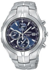 Seiko Men's SNAC93 Excelsior Alarm Chronograph Silver-Tone Watch Seiko. $221.94. Water resistant up to 330 feet (100 M). Elapsed time and split time measuring; tachymeter scale. Reliable Japanese-quartz movement. Main dial polished silver-tone hour and minute hands and sweep-seconds with luminous accents; Hardlex crystal. One-hour and 60-second registers; stopwatch measures 60 minutes in 1/5-second increments. Save 48% Off!