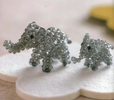 3d beaded elephant . So cute. I want to learn to do this.