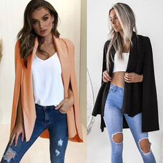 ef44cb0962c 2 Colors Fall Fashion Jacket Coat Blazer Women Loose Sexy Casual OL Cape  Jackets Coats Blazers