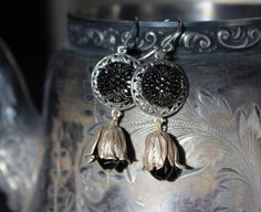 Earrings - Black Lustre Buttons with Silver Floral Caps - Assemblage Button Jewelry M