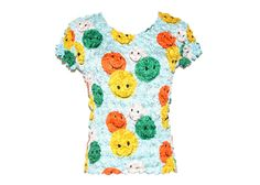 90's Smiley Face Crinkle Stretch Top by RIDETHENOWAVE on Etsy, $32.00