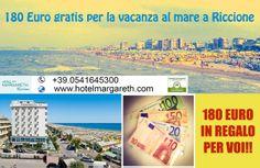 180 Euro in regalo per la vostra vacanza in hotel 3 stelle sul mare a Riccione. Offerta valida dal 25 luglio al 6 agosto 2014, in + i bambini soggiornano gratis