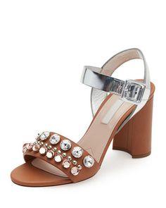 8ba10ed1654f10 Miu Miu Jeweled Block-Heel Leather Sandal