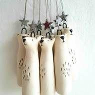 Porcelain Polar bear ornament - North Star- bear with star- Polar bear decoration-free UK shipping - dekoration Fox Decor, Bear Decor, Fox Ornaments, Hanging Ornaments, Dough Ornaments, Hanging Decorations, Christmas Makes, Christmas Design, Beautiful Christmas