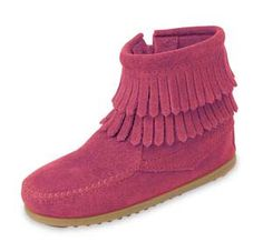 Minnetonka Child's Hot Pink Suede Side Zip Double Fringe Boot. Product # 2295    Featuring genuine Minnetonka style in a compact size with soft, rich suede natural leathers. Double layer of fringe at the ankle and whip stitching around the toe. Side zipper for easy on and off. Lightweight, sporty rubber sole.    Color: Hot Pink Suede    Sizes: 7, 8, 9, 10, 11, 12, 13, 1, 2, 3, 4