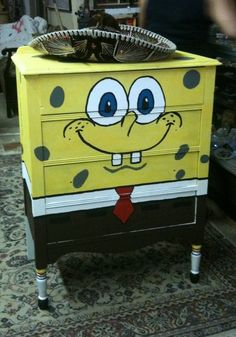 Sponge Bob Dresser. Redo a thrift store find. My kids would love this. Could do hello kitty or whatever else