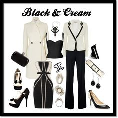 """""""Black & Cream"""" by noelanitaylor on Polyvore for the James Bond Party"""