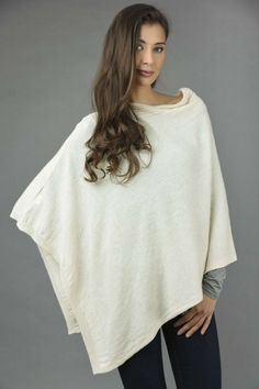 Pure Cashmere Knitted Asymmetric Poncho Wrap in Cream White front 1 Cashmere Poncho, Knitted Poncho, White Plains, Cream White, Black And Navy, Asymmetrical Dress, One Size Fits All, Jeans Leggings, Jeggings