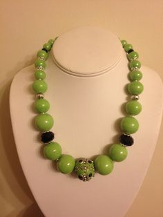 Chunky Lime Green with black accents necklace