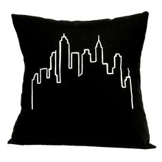 Black City Silhouette Pillow | Uncovet ❤ liked on Polyvore featuring home, home decor, throw pillows, pillow, black toss pillows, black throw pillows, black home decor and black accent pillows