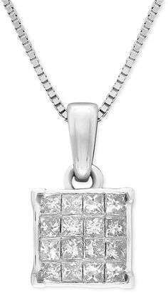 MACY'S Diamond Square Cluster 18and#034; Pendant Necklace (1/4 ct. t.w.) in 14k White Gold