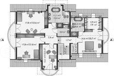 Rzut poddasza projektu Herbert - murowana – beton komórkowy Planer, Floor Plans, House, House 2, American Houses, Home Plans, Haus, Homes, Floor Plan Drawing