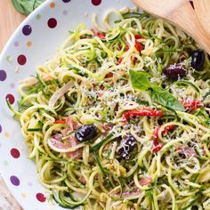 Zucchini and cucumber noodle antipasto salad is a refreshing summer salad that is full of flavor and texture. It makes the perfect side to any meal!