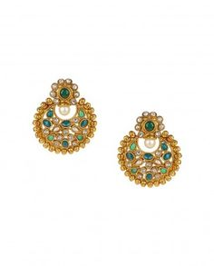 Golden Crescent Earrings with Green Stones by Anjali Jain - #Gold #Earrings #Multicolour #Ethnic #Bling #India #Fashion #Jewelry #Indian #Designer #Jewellery #Multicolor #Desi #Stones #Kundan #Beads #Jhumka #Pearl #Traditional #Golden #Floral #Bangles #Necklaces Indian Ethnic Fashion - Jewelry Designs of India - Jewellery for Festive Dressing - Jewelry Styles for Indian Weddings - Bridal Jewellery