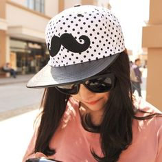 Juniors Black Embroidery Beard Dot Pattern Design Canvas Fashion Hats http://earrings.asumall.com/