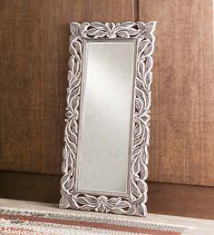 Handcarved Whitewash Leaf Mirror - Sale | VivaTerra