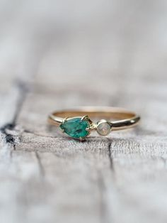 North Carolina Emerald and Opal Ring in Gold// She's a vibrant thing.