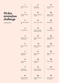 30 day minimalism challenge originally found over at Into Mind. I have stumbled across this thirty day minimalism challenge many times and have finally. Konmari, Minimalist Lifestyle, Minimalist Living, Minimalist Wardrobe, Minimalist Bedroom, Minimalist Fashion, Minimalism Challenge, 30 Tag, Vie Simple