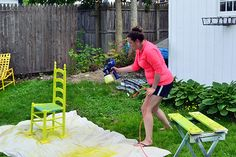 Spray painting chairs lime with Home Right Finish Max Fine Finish HVLP Paint Sprayer