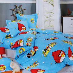 Angry Birds Blue Orange Rose Angry Birds Bedding Set