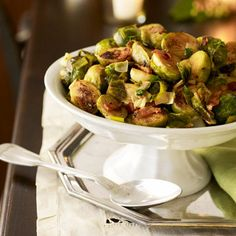 Be the star of the #potluck with this yummy and easy Brussels Sprouts with Leeks and Bacon Recipe.  #vegetables #protein #myplate