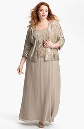 Alex Evenings Embellished Chiffon Gown & Jacket (Plus)