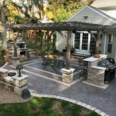 Home backyard designs pavers patio with wood pergola The most beautiful picture. - Home backyard designs pavers patio with wood pergola The most beautiful picture for country home d - Design Patio, Backyard Patio Designs, Pergola Designs, Backyard Landscaping, Paved Backyard Ideas, Patio Ideas With Fire Pit, Wooded Backyard Landscape, Front Walkway Landscaping, Small Backyard Decks