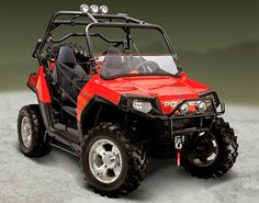 Tear up the trails in the hardcore 2008 Polaris Ranger RZR (starting at $10,300). With 800cc's of power, this two-seater side by side powerhouse has a top speed of 55 mph. The RZR's rear-mounted engine gives a lower center of gravity for better handling, while the roll cage will protect your frail body better than any ATV out there.