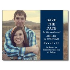 Navy Banner Photo Save The Date Post Cards #savethedate #postcards #wedding