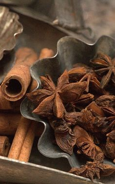 Details: spices (cinnamon, star anise), metal, curves, shapes