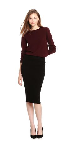 55bac93e5b7fa Slip into a ribbed knit pencil skirt with a sleek silhouette. Knit Pencil  Skirt